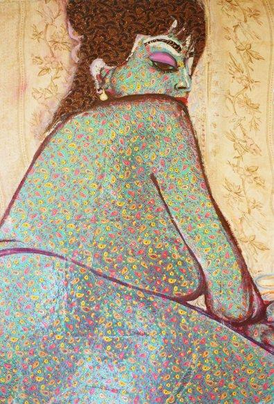 Detail of Yasmin in paisley