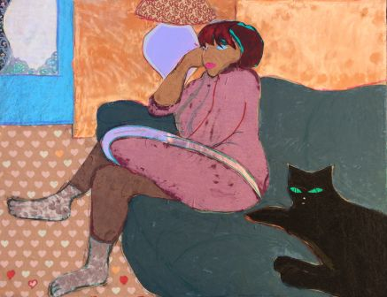$750 BUY ONLINE NOW! https://bluethumb.com.au/Mark-Ewenson/Artwork/cat-woman-0
