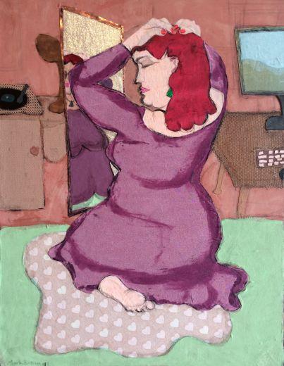 $750 BUY ONLINE NOW! https://bluethumb.com.au/Mark-Ewenson/Artwork/woman-in-purple-dress