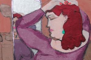 detail of 'Woman in purple dress'