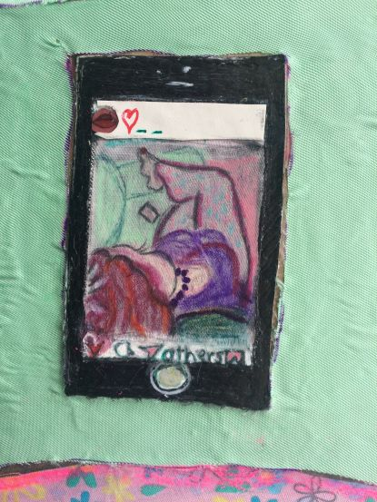 Close up detail of 'With her phone' 2020
