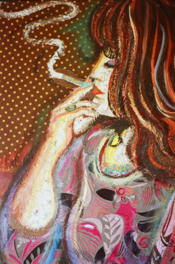 Detail of 'Yasmin smoking'