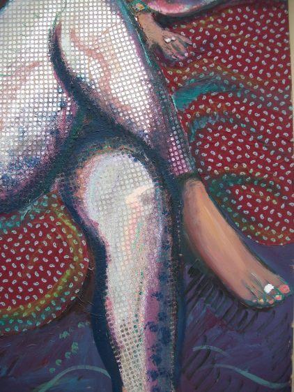 detail of 'Yasmin in silver pants'