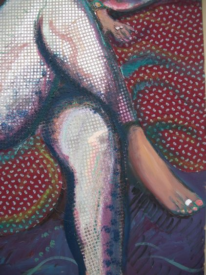 detail of 'Yasmin in silver pants'
